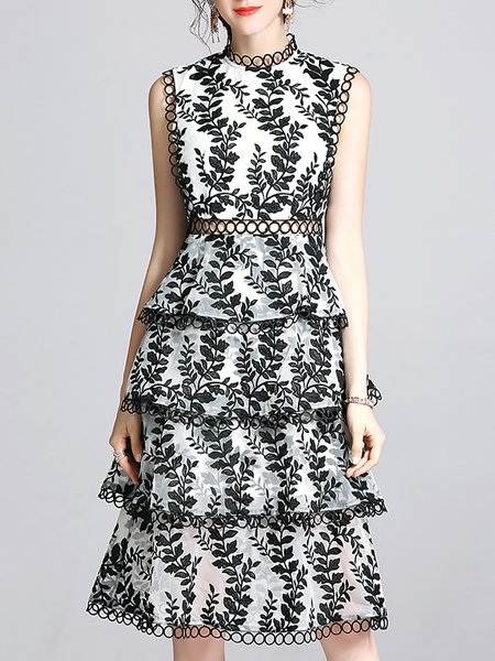 Midi Dress Daily Sleeveless Embroidered Dress