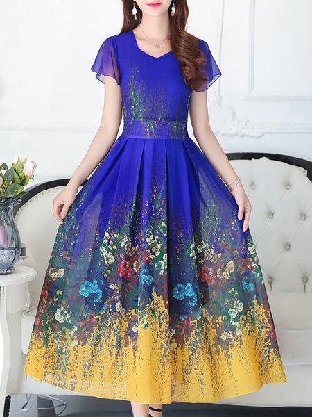 V neck Maxi Dress Daytime Chiffon Floral Dress