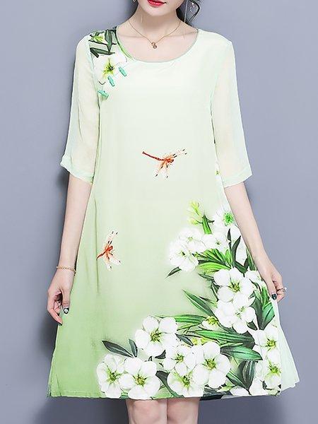 Printed Shift Midi Dress