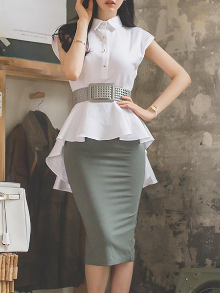 Asymmetric Ruffled Two Piece Outfits