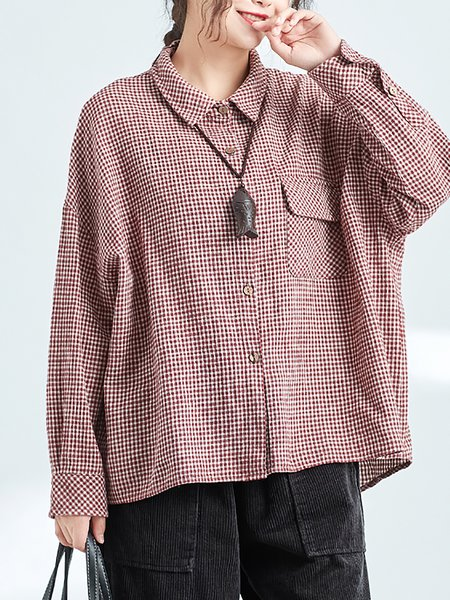 Gingham Printed Shirt Collar Top