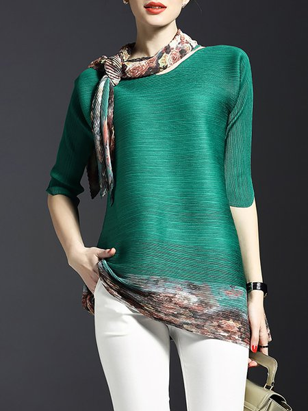 Crew Neck Printed 3/4 Sleeve Casual Polyester Tunic