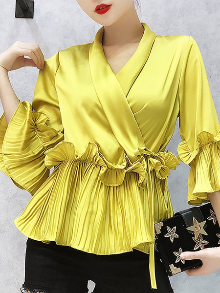 Folds Casual Frill Sleeve Ruffled Blouson V neck Gathered Top