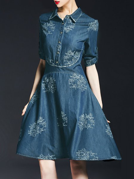 Casual Half Sleeve Embroidered V Neck Floral Midi Dress