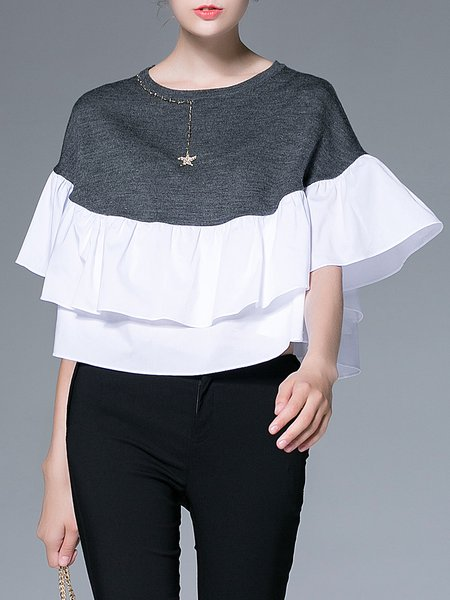 Gray Ruffled Cotton-blend Paneled Elegant Blouse
