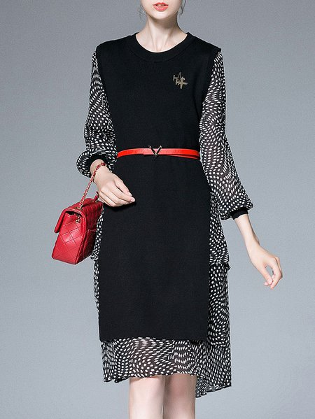 Black Polka Dots Elegant Knitted Two Piece Midi Dress