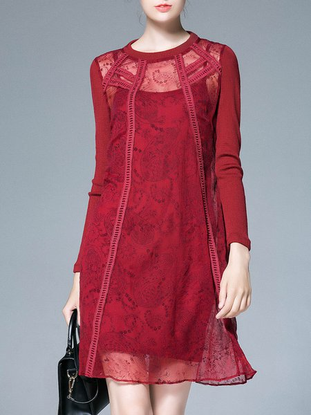 Red Mesh Silk Elegant Lace Paneled Midi Dress