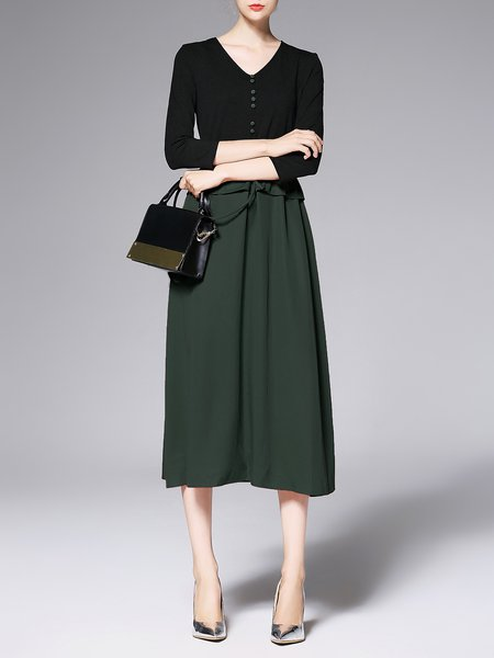 Green Cotton-blend A-line 3/4 Sleeve Midi Dress