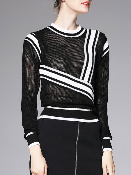 Black Paneled Knitted Casual Long Sleeved Top