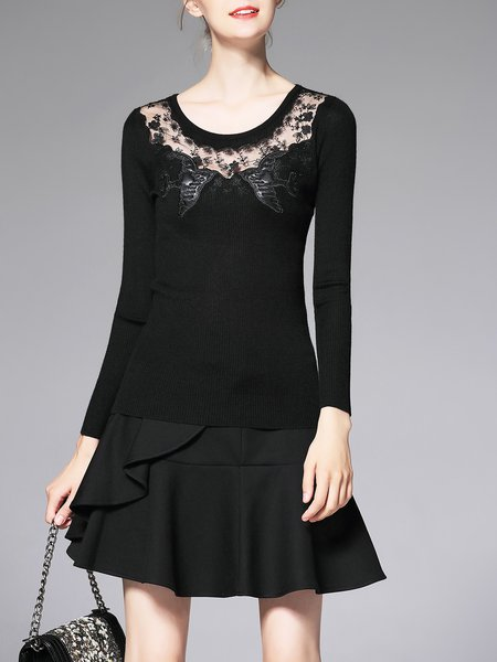 Black Paneled Mesh Statement Long Sleeved Top