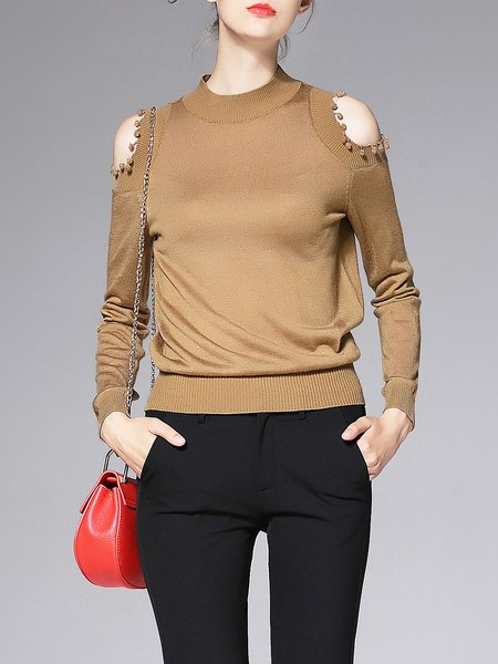 Coffee Statement Cutout Wool Blend Long Sleeved Top