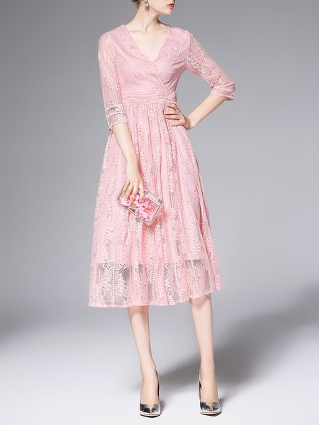 Pink Guipure Lace Polyester 3/4 Sleeve Casual Midi Dress