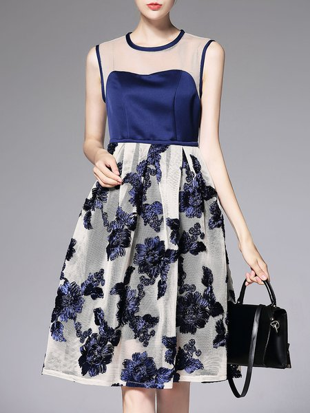 Blue Sleeveless Crew Neck Floral Mesh Paneled Midi Dress