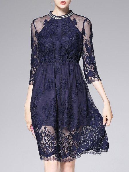 Royal Blue Mesh 3/4 Sleeve Lace Beaded Floral Midi Dress