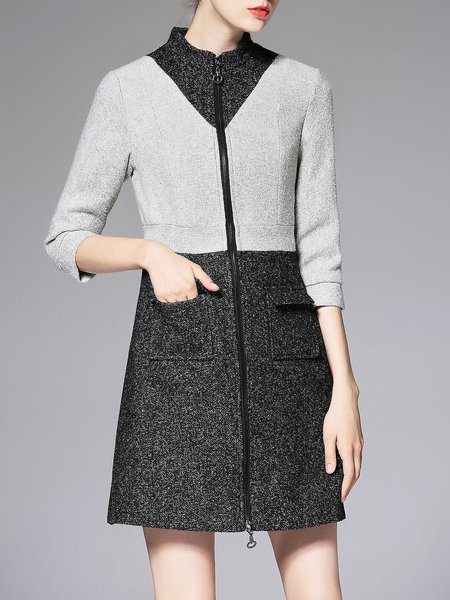 Woolen Work Stand Collar 3/4 Sleeve Color-block Coat