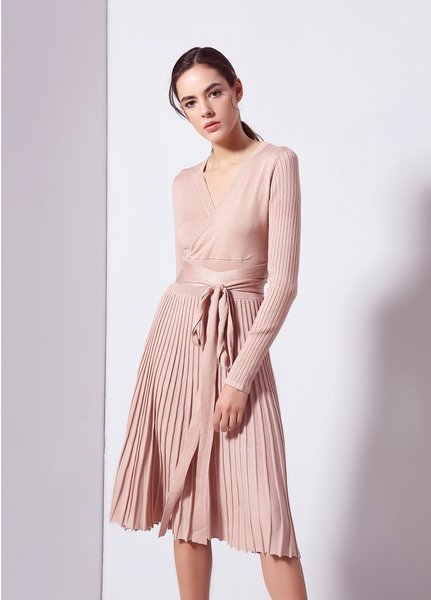 Apricot Pleated Elegant Cotton-blend Surplice Neck A-line Wrap Dress