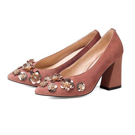 Deep Pink Spring/Fall Chunky Heel Flower Heels