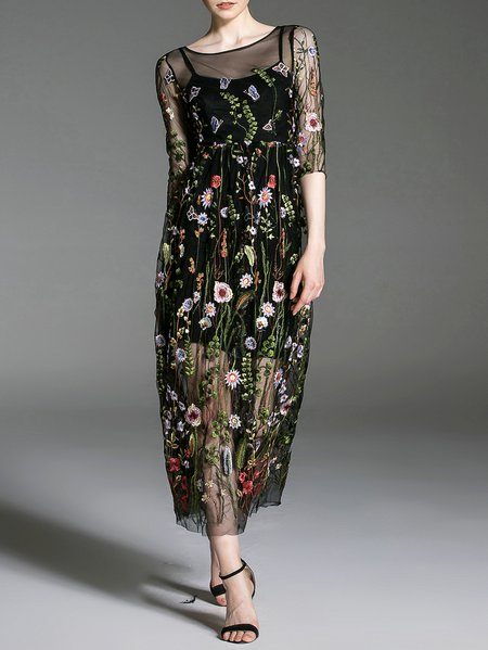 Black Half Sleeve Embroidered Floral A-line Midi Dress