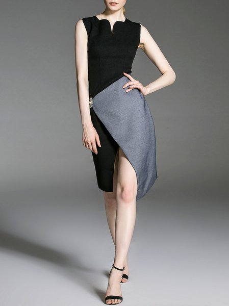 Black Color-block V Neck Elegant Midi Dress