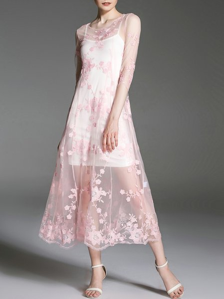 Pink 3/4 Sleeve Floral Midi Dress