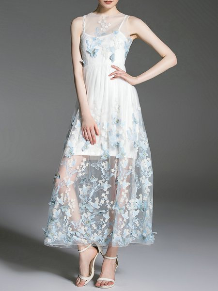 A-line Elegant Sleeveless Midi Dress