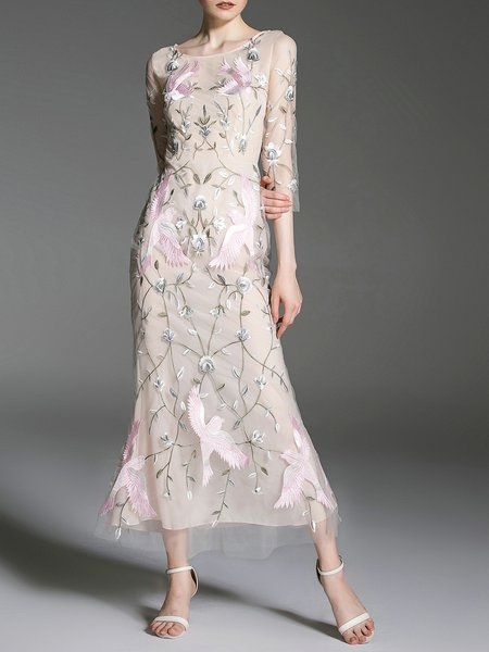 Apricot Floral Embroidered Elegant Maxi Dress