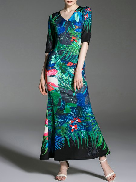 Blue Floral V Neck Elegant Maxi Dress