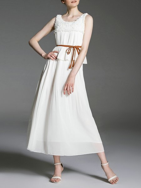 White Sleeveless Pleated Maxi Dress with Belt