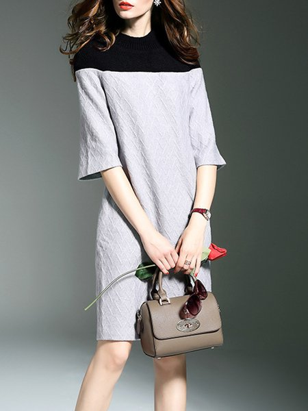 Plain Casual Ribbed 3/4 Sleeve Sheath Knitted Sweater Dress