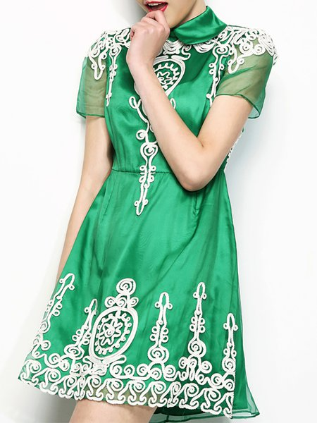 Green A-line Embroidered Silk Short Sleeve Mini Dress
