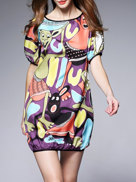 Silk Casual Printed Crew Neck Short Sleeve Mini Dress