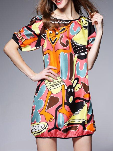 Pink Abstract Short Sleeve Silk Mini Dress