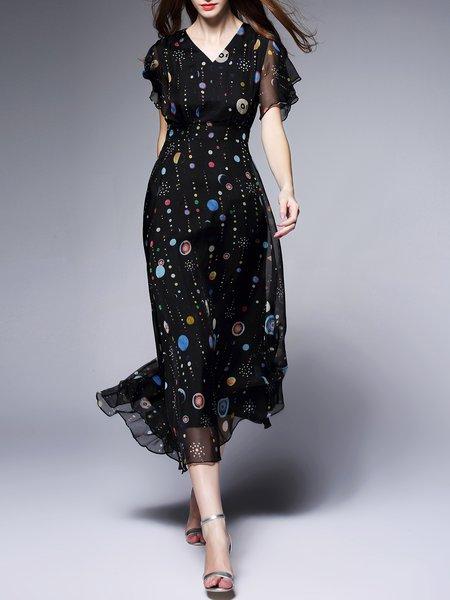 Black Abstract A-line Silk Frill Sleeve Midi Dress