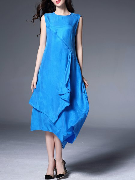 Blue Sleeveless Asymmetric Midi Dress