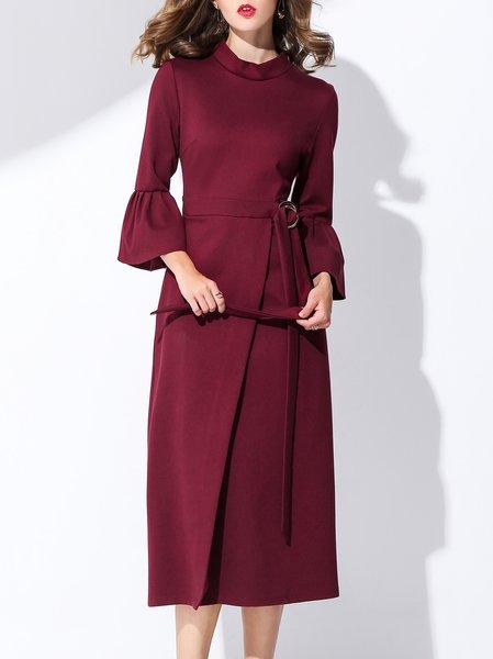 Plus Size Bell Sleeve Elegant Sheath Midi Dress