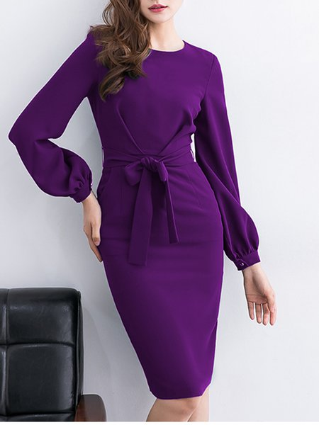 Midi Dress Daytime Balloon Sleeve Elegant Dress