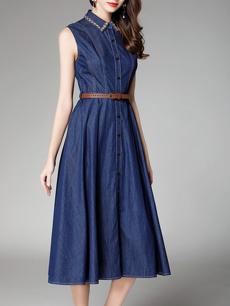 Navy Blue A-line Cotton-blend Sleeveless Beaded Midi Dress