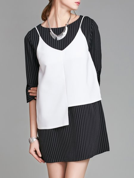 3/4 Sleeve Casual Stripes Boat Neck Asymmetric Dress With Cami