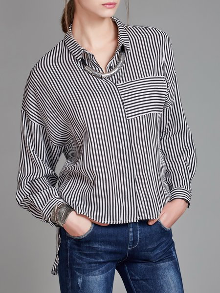 Striped Casual Shirt Collar Long Sleeve Loose Blouse