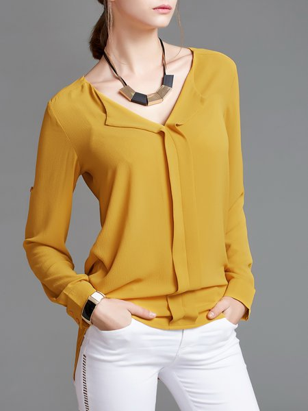 Yellow V Neck Long Sleeve Solid Feminine Blouse