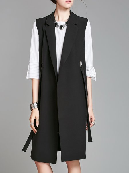 Solid Sleeveless Lapel Long Outerwear Vests And Gilet