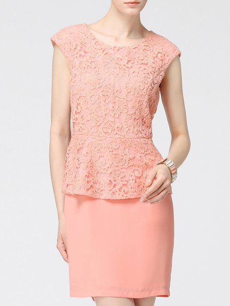 Pink Elegant Ruffled Lace Paneled Mini Dress