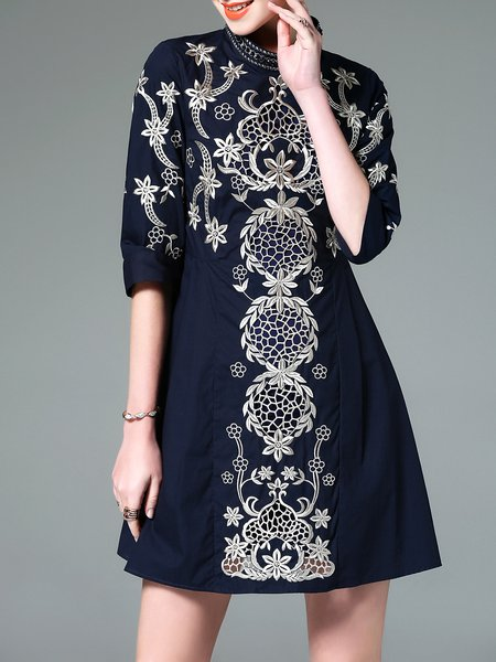 Navy Blue Floral-embroidered 3/4 Sleeve Cotton-blend Mini Dress