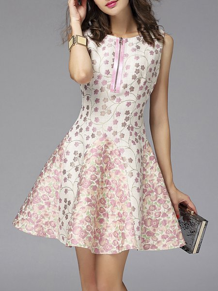 Pink Floral-embroidered  Jacquard A-line Sleeveless Mini Dress