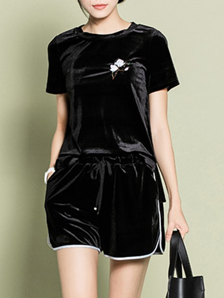 Black Velvet Two Piece Embroidered Shorts Sleeve Romper