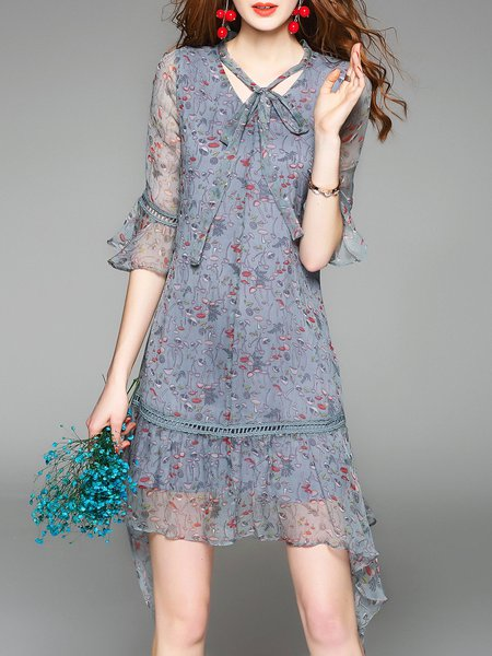 Blue Frill Sleeve Floral Printed V Neck Asymmetrical Bow Silk Midi Dress