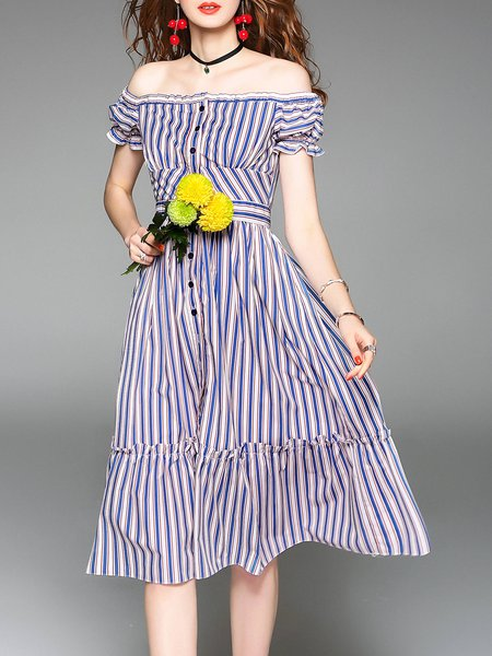 Blue Cotton Frill Sleeve Striped A-line Off Shoulder Midi Dress