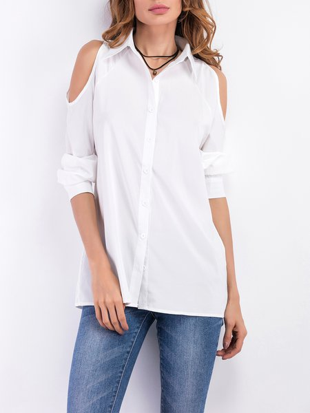 Casual Cold Shoulder Buttoned Solid Long Sleeve Blouse