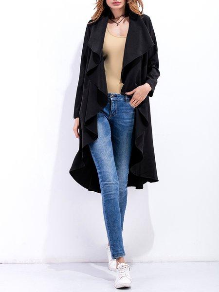 Solid Folds Long Sleeve Asymmetrical Coat