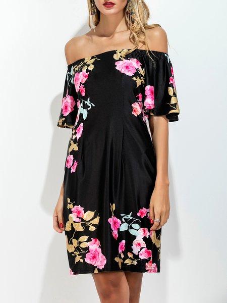 Black Off Shoulder Shorts Sleeve Floral-print Boho Dress